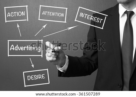 Business man writing Advertising business concept - stock photo