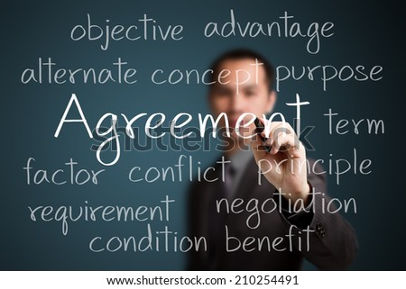 business man writing agreement concept - stock photo