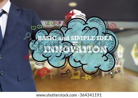 business man writing BASIC AND SIMPLE IDEA equal INNOVATION over the cloud with office background , business concept , business idea - stock photo