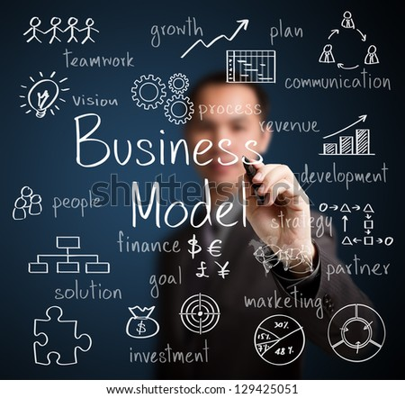business man writing business model concept - stock photo