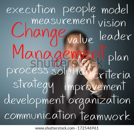 business man writing change management concept