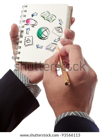 Business man writing collaboration diagram on book - stock photo