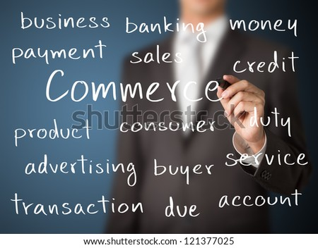 business man writing commerce concept