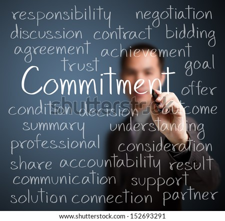 business man writing commitment concept - stock photo