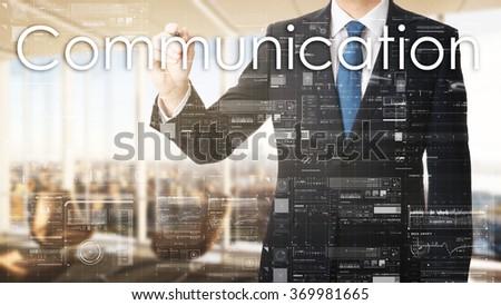 business man writing communication  - stock photo