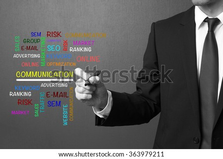 Business man writing COMMUNICATION word cloud, business concept
