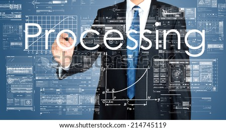 business man writing concept of business processing - stock photo
