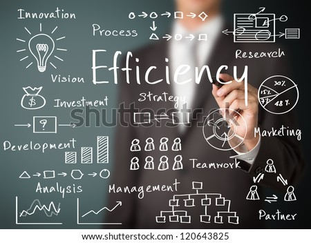 business man writing concept of efficiency business process - stock photo