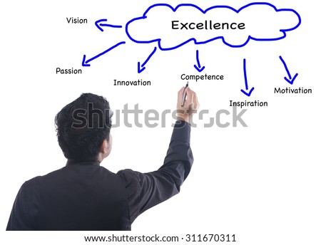 Business man writing concept of Excellence  - stock photo