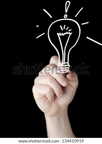 business man writing concept of good idea - stock photo