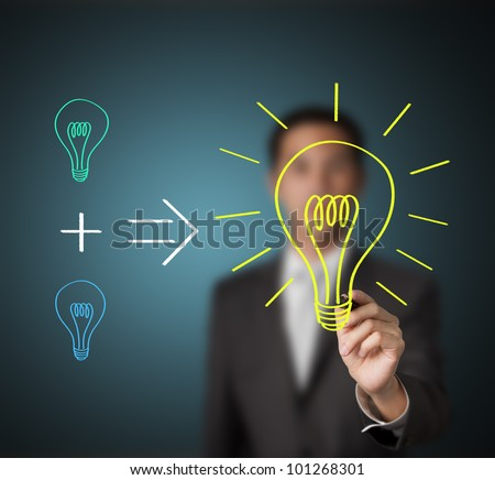 business man writing concept - small different ideas can produce new big idea - stock photo