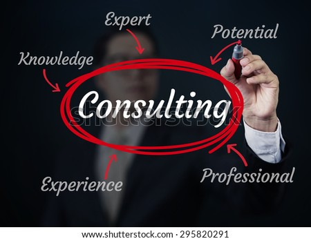 Business man writing consulting concept, new business concept, studio shot - stock photo