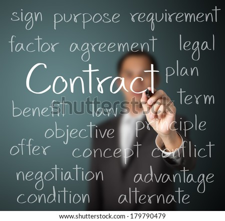 business man writing contract concept - stock photo
