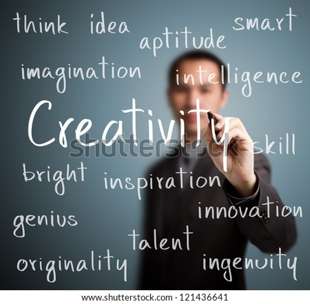business man writing creativity concept - stock photo
