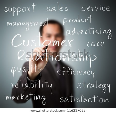 business man writing customer relationship concept - stock photo