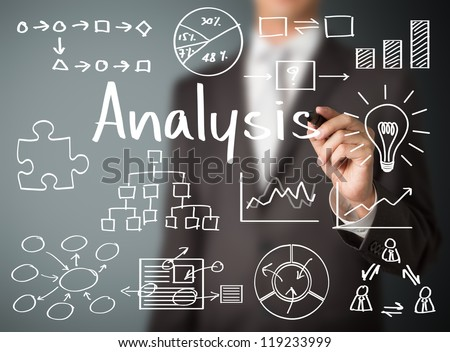 business man writing data analysis - stock photo