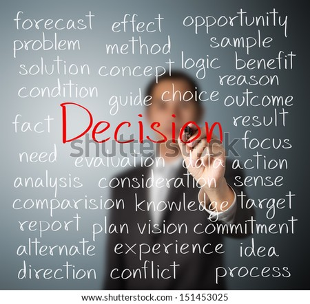 business man writing decision concept - stock photo