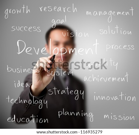 business man writing development concept