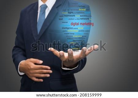 business man writing digital marketing concept  - stock photo