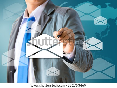 Business man writing e-mail sign  - stock photo