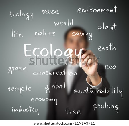 business man writing ecology concept - stock photo