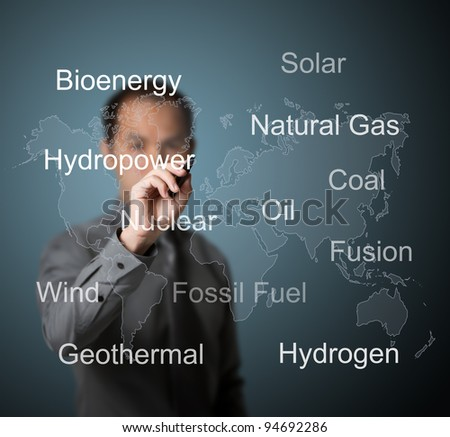 business man writing energy sources in the world - stock photo