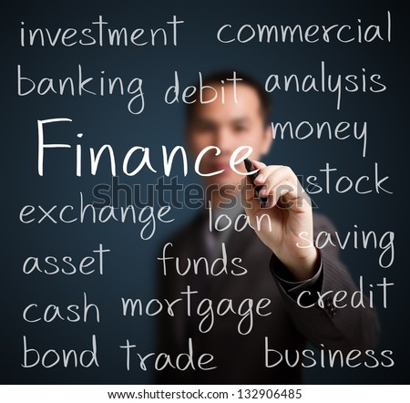 business man writing finance concept - stock photo
