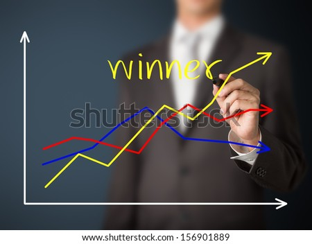 business man writing graph of winner compare with others