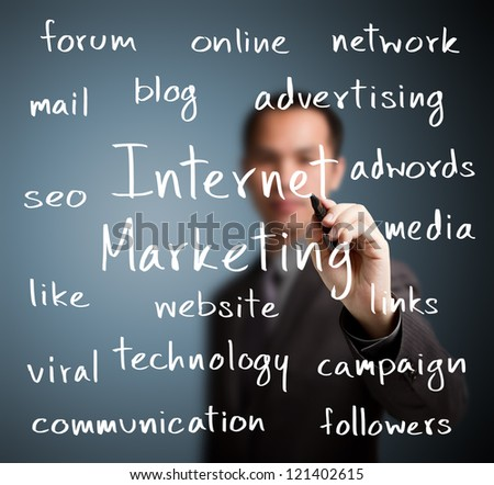 business man writing internet marketing concept - stock photo