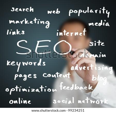 business man writing internet marketing concept of search engine optimization ( SEO ) - stock photo