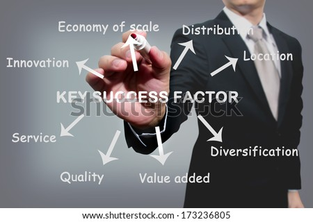 business man writing key success factor concept  - stock photo