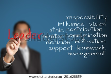 business man writing leader attribute - stock photo