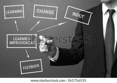 Business man writing Learning improvement, business strategy concept - stock photo
