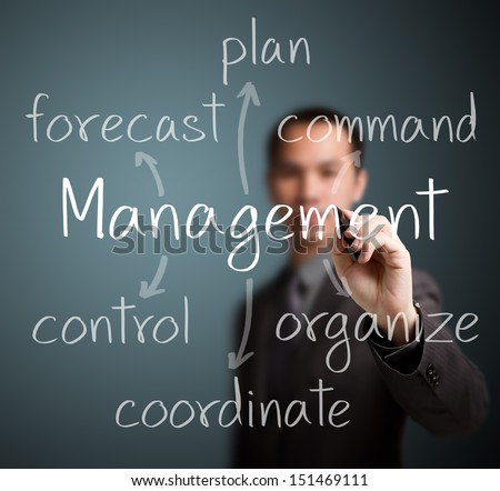 business man writing management skill and responsibility - stock photo