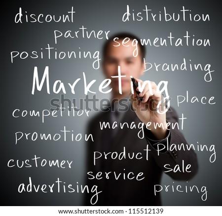 business man writing marketing concept - stock photo
