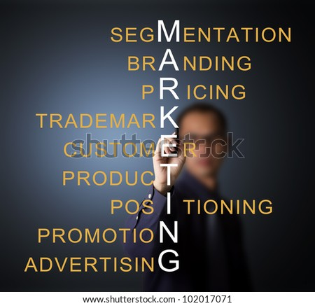 business man writing marketing concept by crossword component ( branding - pricing - positioning - product - promotion - advertising - trademark - segmentation - customer ) - stock photo