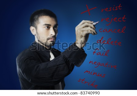 business man writing negative words - stock photo
