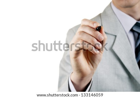 Business man writing on touch screen background