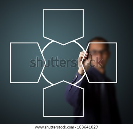 business man writing one core centralize from four component diagram in blank - stock photo