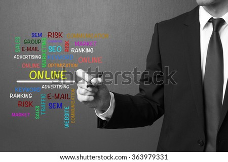 Business man writing Online word cloud, business concept