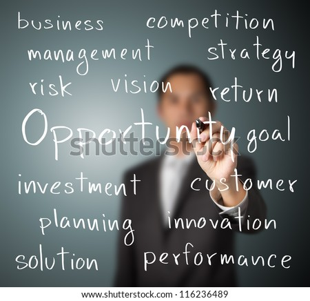 business man writing opportunity concept - stock photo