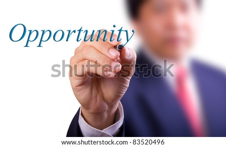 business man writing opportunity word - stock photo