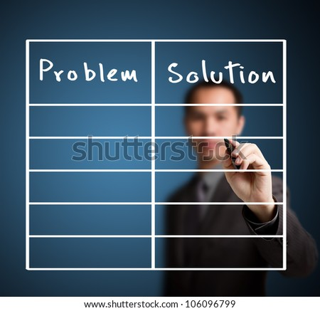 business man writing problem and solution list in blank - stock photo
