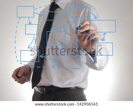 business man writing process flowchart diagram on whiteboard - stock photo