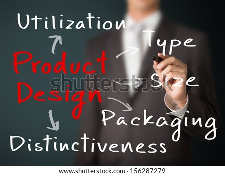 business man writing product design concept
