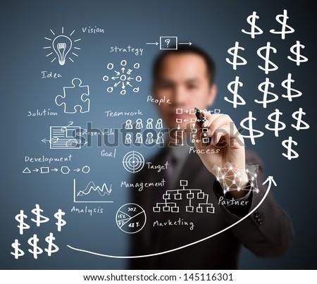 business man writing profit business process - stock photo