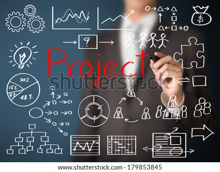 business man writing project concept - stock photo