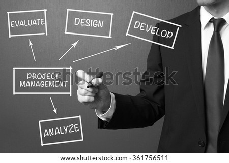 Business man writing Project Management, business product development concept - stock photo