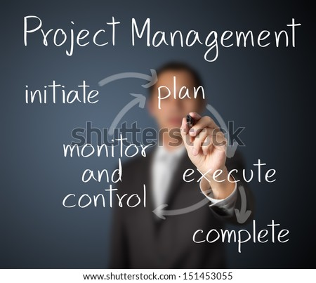 business man writing project management workflow - stock photo