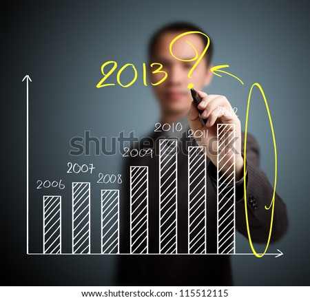 business man writing question about 2013 on graph - stock photo